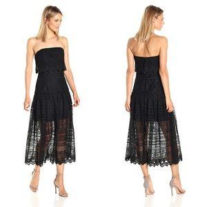 NWT AMUR black strapless lace popover midi dress 4 ddb7f613c0aa0